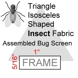 "Triangle Isosceles Shaped Assembled Insect Bug Screen, 5/16"" x 1"" Frame"