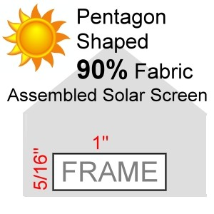 "Pentagon Shaped 90% Fabric Assembled Solar Screen, 5/16"" x 1"" Frame"