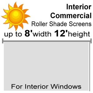 "Interior Commercial Roll Shade Screens - 96"" Max Width - 144"" Max Height (Drop)"